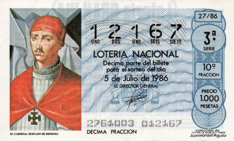Décimo de Lotería 1986 / 27