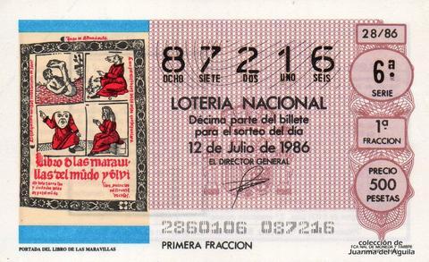 Décimo de Lotería 1986 / 28