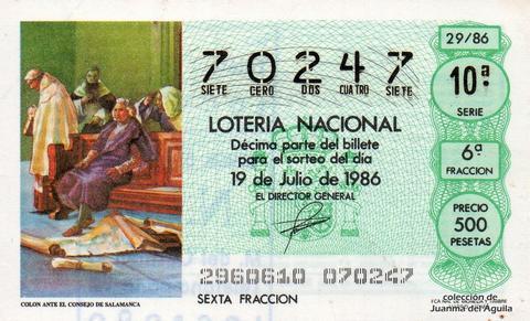Décimo de Lotería 1986 / 29