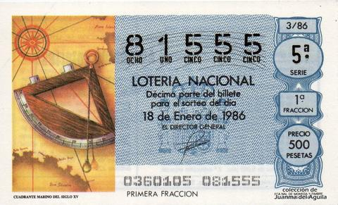 Décimo de Lotería 1986 / 3