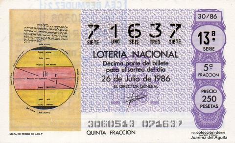 Décimo de Lotería 1986 / 30