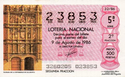 Décimo de Lotería 1986 / 32