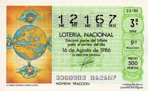 Décimo de Lotería 1986 / 33