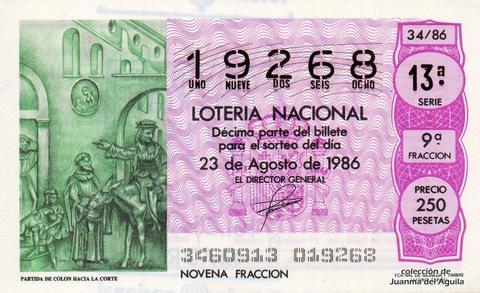 Décimo de Lotería 1986 / 34