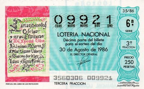 Décimo de Lotería 1986 / 35