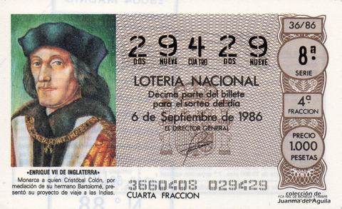 Décimo de Lotería 1986 / 36