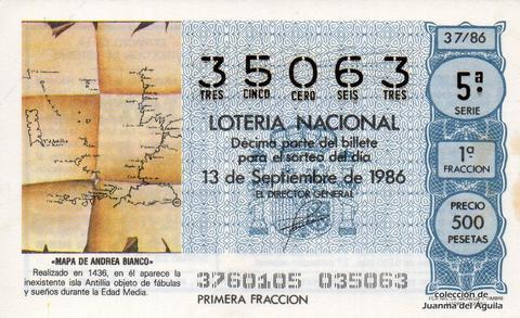 Décimo de Lotería 1986 / 37
