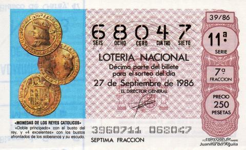 Décimo de Lotería 1986 / 39