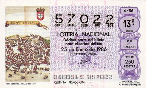 Décimo de Lotería 1986 / 4
