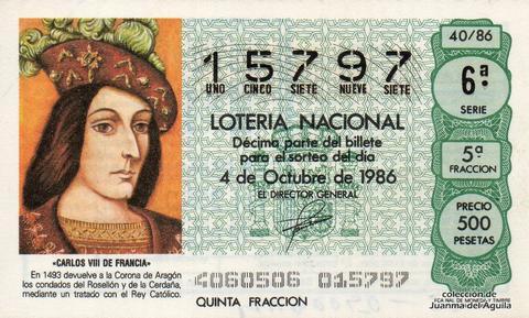 Décimo de Lotería 1986 / 40
