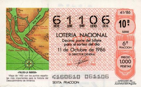 Décimo de Lotería 1986 / 41