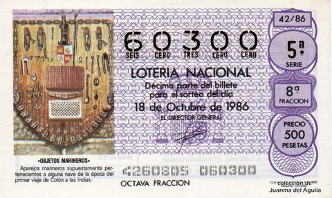 Décimo de Lotería 1986 / 42