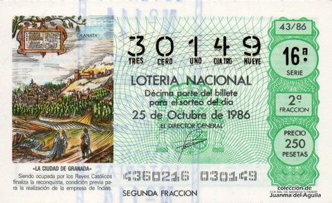 Décimo de Lotería 1986 / 43