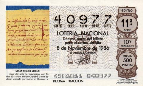 Décimo de Lotería 1986 / 45