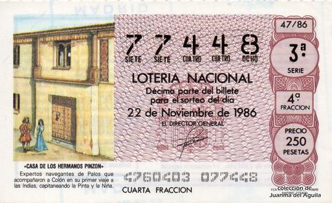 Décimo de Lotería 1986 / 47