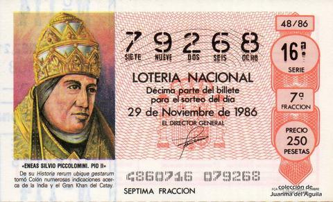 Décimo de Lotería 1986 / 48