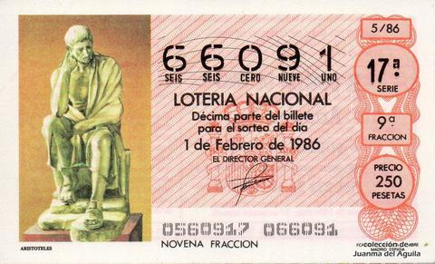 Décimo de Lotería 1986 / 5