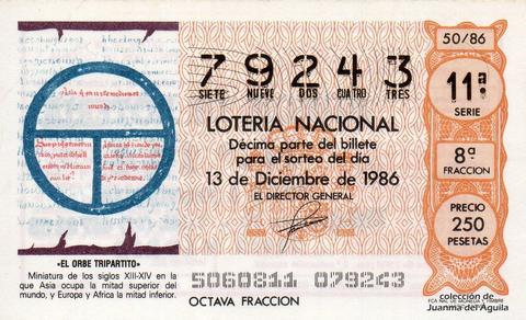 Décimo de Lotería 1986 / 50