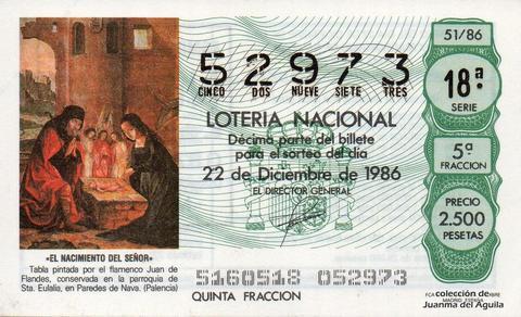 Décimo de Lotería 1986 / 51