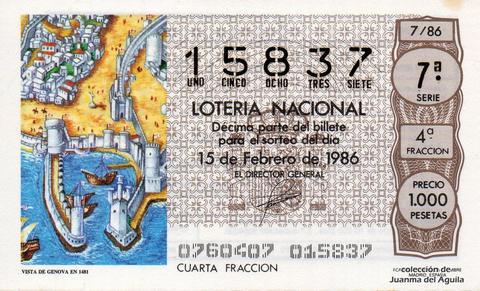 Décimo de Lotería 1986 / 7