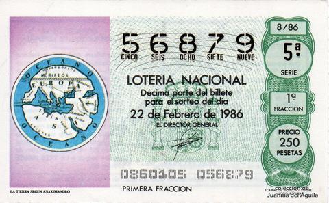 Décimo de Lotería 1986 / 8