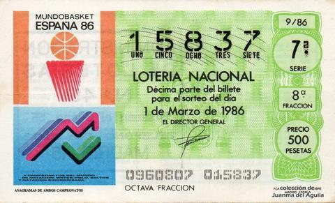 Décimo de Lotería 1986 / 9