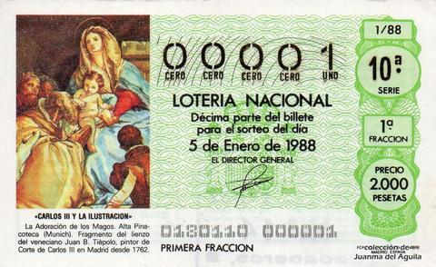 Décimo de Lotería Nacional de 1988 Sorteo 1 - «CARLOS III Y LA ILUSTRACION» - LA ADORACION  DE LOS MAGOS (JUAN B. TIEPOLO)