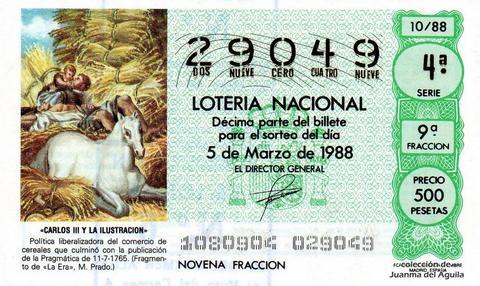Décimo de Lotería Nacional de 1988 Sorteo 10 - «CARLOS III Y LA ILUSTRACION» - FRAGMENTO DE «LA ERA», MUSEO DEL PRADO