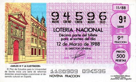 Décimo de Lotería Nacional de 1988 Sorteo 11 - «CARLOS III Y LA ILUSTRACION» - PLAN DE ESTUDIOS PARA LA UNIVERSIDAD DE SEVILLA