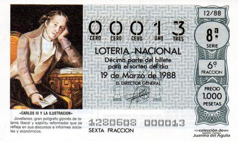 Décimo de Lotería Nacional de 1988 Sorteo 12 - «CARLOS III Y LA ILUSTRACION» - JOVELLANOS, GRAN POLIGRAFO GIJONES