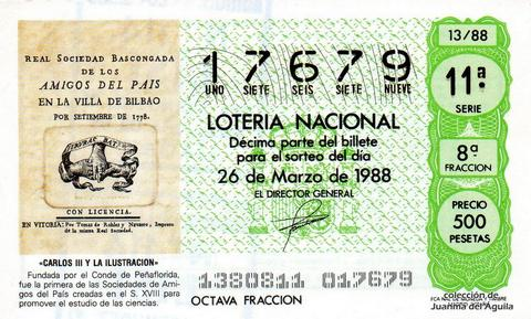Décimo de Lotería Nacional de 1988 Sorteo 13 - «CARLOS III Y LA ILUSTRACION» - REAL SOCIEDAD BASCONGADA (S. XVIII)