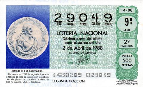 Décimo de Lotería Nacional de 1988 Sorteo 14 - «CARLOS III Y LA ILUSTRACION» - FABRICA DE LOZA DE ALCORA