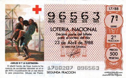 Décimo de Lotería Nacional de 1988 Sorteo 17 - «CARLOS III Y LA ILUSTRACION» - EL ALBAÑIL HERIDO, DE GOYA