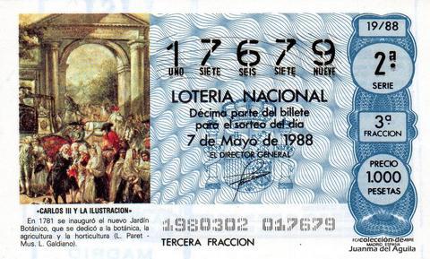 Décimo de Lotería Nacional de 1988 Sorteo 19 - «CARLOS III Y LA ILUSTRACION» - INAUGURACION DEL NUEVO JARDIN BOTANICO (1781)