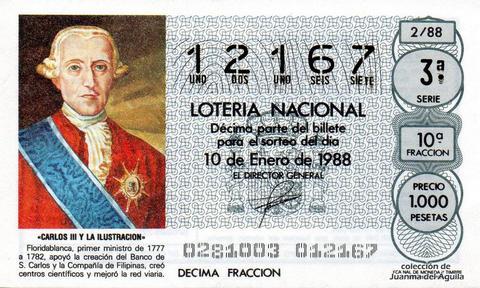 Décimo de Lotería Nacional de 1988 Sorteo 2 - «CARLOS III Y LA ILUSTRACION» - FLORIDABLANCA. PRIMER MINISTRO DE 1777 A 1782
