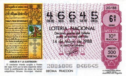 Décimo de Lotería Nacional de 1988 Sorteo 20 - «CARLOS III Y LA ILUSTRACION» - PROLIFERACION DE TEMAS CALIGRAFICOS (MUSEO MUNICIPAL. MADRID)