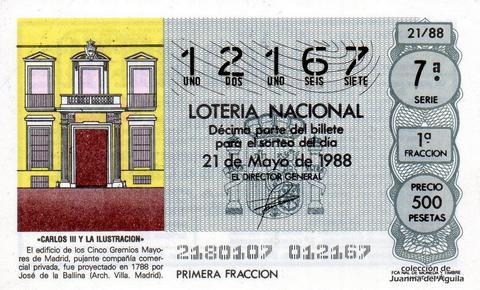 Décimo de Lotería Nacional de 1988 Sorteo 21 - «CARLOS III Y LA ILUSTRACION» - EDIFICIO DE LOS CINCO GREMIOS MAYORES DE MADRID