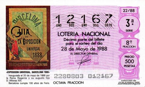 Décimo de Lotería Nacional de 1988 Sorteo 22 - «EXPOSICION UNIVERSAL. BARCELONA 1888»