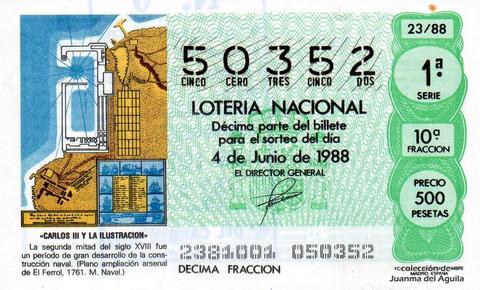 Décimo de Lotería Nacional de 1988 Sorteo 23 - «CARLOS III Y LA ILUSTRACION» - PLANO AMPLIACION ARSENAL DE EL FERROL, 1761