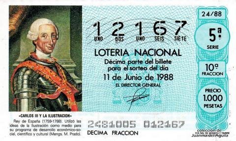 Décimo de Lotería Nacional de 1988 Sorteo 24 - «CARLOS III Y LA ILUSTRACION» - CARLOS III. REY DE ESPAÑA (1759-1788)