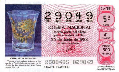 Décimo de Lotería Nacional de 1988 Sorteo 26 - «CARLOS III Y LA ILUSTRACION» - VASO DE CRISTAL GRABADO Y DORADO AL FUEGO