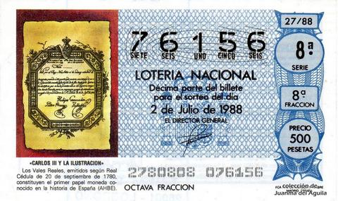 Décimo de Lotería Nacional de 1988 Sorteo 27 - «CARLOS III Y LA ILUSTRACION» - «VALES REALES» PRIMER PAPEL MONEDA EN LA HISTORIA DE ESPAÑA