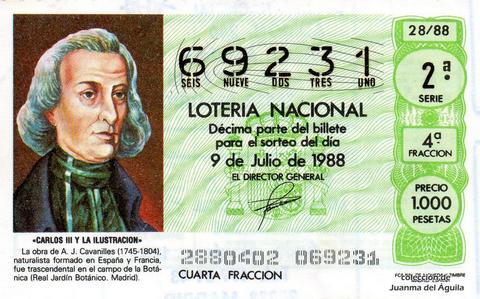 Décimo de Lotería Nacional de 1988 Sorteo 28 - «CARLOS III Y LA ILUSTRACION» - A.J. CAVANILLES (1745-1804). NATURALISTA