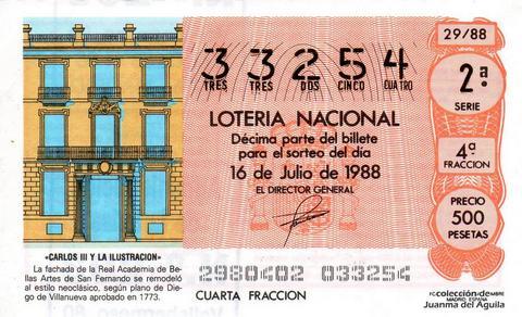 Décimo de Lotería Nacional de 1988 Sorteo 29 - «CARLOS III Y LA ILUSTRACION» - FACHADA DE LA REAL ACADEMIA DE BELLAS ARTES DE SAN FERNANDO