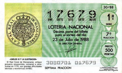 Décimo de Lotería Nacional de 1988 Sorteo 30 - «CARLOS III Y LA ILUSTRACION» - REAL CANAL DE MANZANARES, COMENZO A CONSTRUIRSE EN 1770