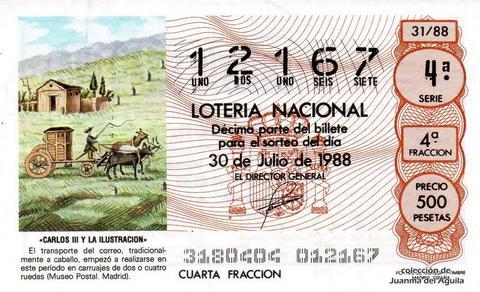 Décimo de Lotería Nacional de 1988 Sorteo 31 - «CARLOS III Y LA ILUSTRACION» - TRANSPORTE DE CORREO EN CARRUAJE (MUSEO POSTAL. MADRID)