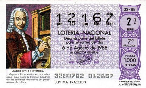 Décimo de Lotería Nacional de 1988 Sorteo 32 - «CARLOS III Y LA ILUSTRACION» - MAYANS Y SISCAR, ERUDITO ESCRITOR VALENCIANO