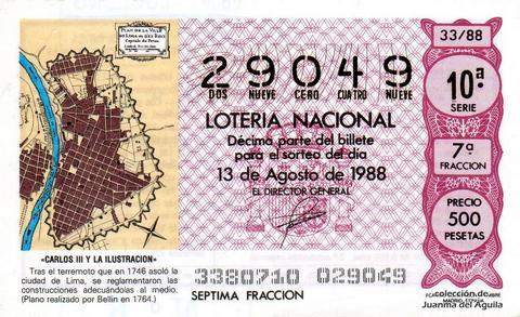 Décimo de Lotería Nacional de 1988 Sorteo 33 - «CARLOS III Y LA ILUSTRACION» - CIUDAD DE LIMA. (PLANO REALIZADO POR BERLIN EN 1764)