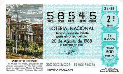 Décimo de Lotería Nacional de 1988 Sorteo 34 - «CARLOS III Y LA ILUSTRACION» - MUSEO DEL PRADO, PROYECTADO POR JUAN DE VILLANUEVA EN 1785