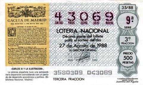 Décimo de Lotería Nacional de 1988 Sorteo 35 - «CARLOS III Y LA ILUSTRACION» - GRAN EXPANSION DE LA PRENSA ESPAÑOLA